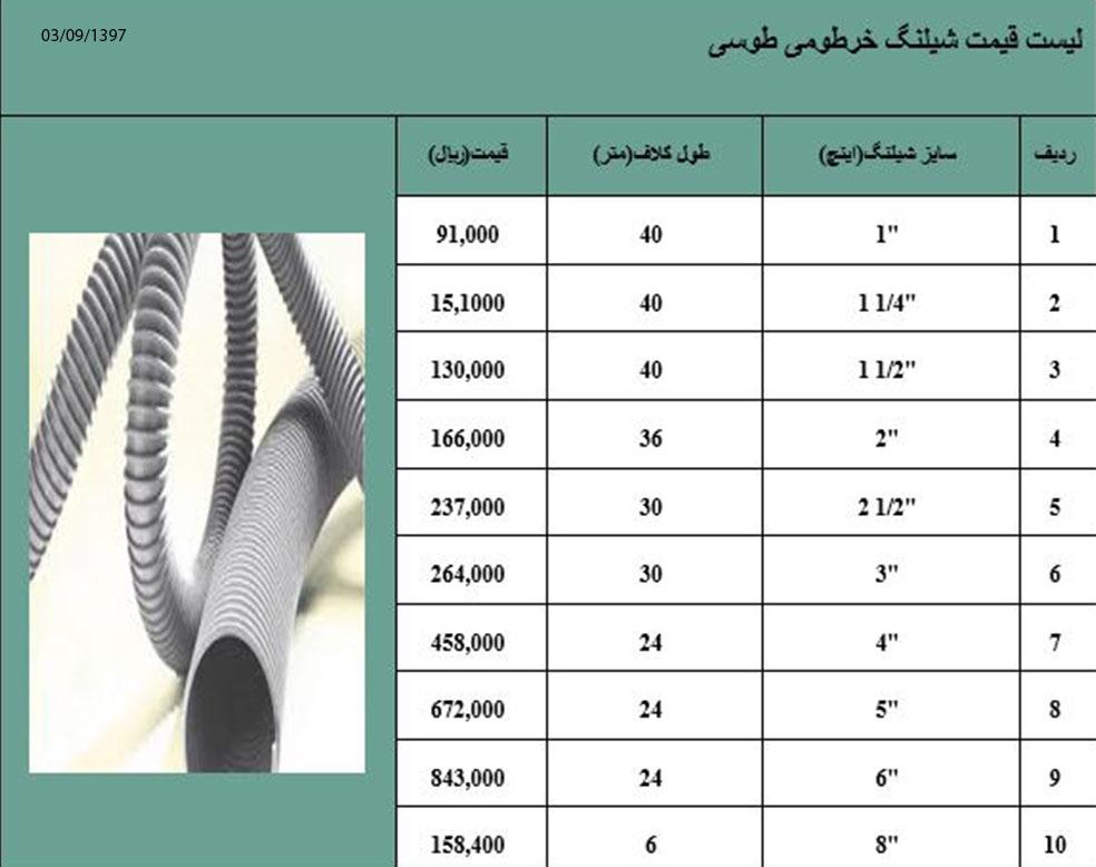 لیست قیمت شیلنگ خرطومی