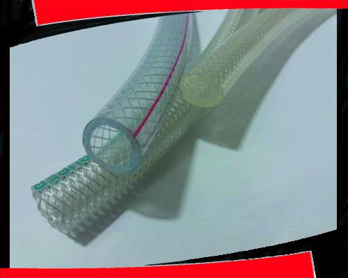 تولید شیلنگ شفاف نخدار دو خط رنگی